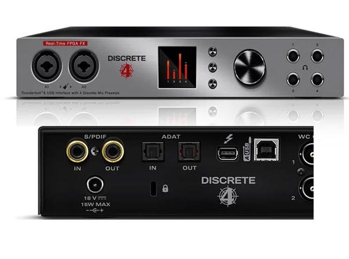 USB සහ Thunderbolt සබඳතා සහිත Antelope Discrete 4