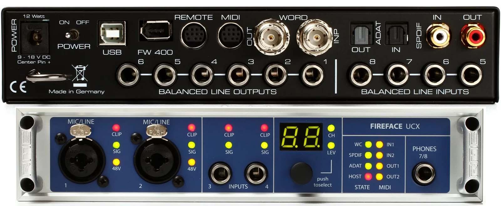 USB සහ FireWire සබඳතා, ADAT, S/PDIF පහසුකම් සහ Clock in/Out සහිත RME Fireface UCX